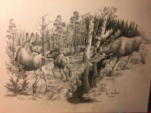 Fick en sån himla fin teckning av Bo som även är konstnär, fiiina älgar!