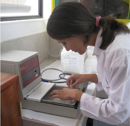 Carolina Garcia i färd med att bädda in sina prover.