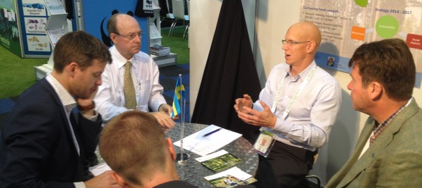 Diskussion med IUFROs president Mike Wingfield vid World Forestry Congress i Durban 2015.