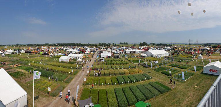 Utsikt över Borgeby med alla tält och provytor med olika sorters spannmål.